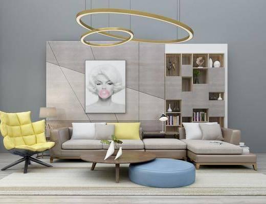 沙发组合, 多人沙发, 转角沙发, 茶几, 单人沙发, 吊灯, 装饰柜, 摆件, 装饰品, 陈设品, 装饰画, 挂画, 沙发脚踏, 背景墙, 现代