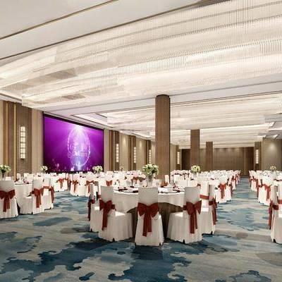 新中式酒店宴会厅, 新中式, 宴会厅, 餐桌椅, 大型水晶吊灯, 中式壁灯