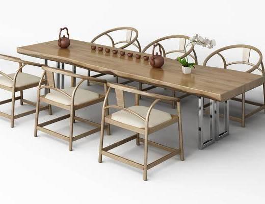 新中式, 中式, 餐桌椅, 茶具, 单椅, 椅子, 茶桌