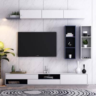 电视柜, 装饰柜, 盆栽, 绿植, 摆件, 装饰品, 陈设品, 现代简约, 壁柜