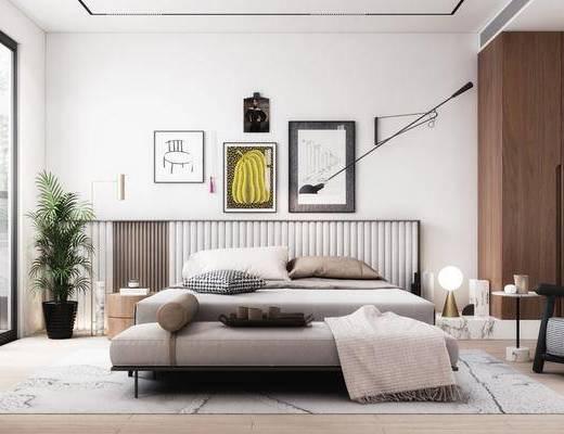 双人床, 装饰画, 边几, 台灯, 衣柜, 盆栽植物