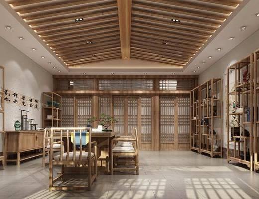 茶室, 书桌, 茶桌, 单人椅, 边柜, 装饰架, 摆件, 装饰品, 陈设品, 墙饰, 绿植, 盆栽, 新中式