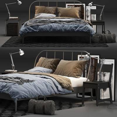 双人床, 床头柜, 椅子, 台灯, 床, 现代