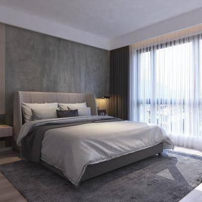 卧室, 床具, 双人床, 吊灯, 床头柜, 台灯, 地毯, 现代