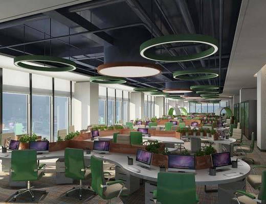 办公室, 桌椅, 椅子, 吊灯, 办公区, 办公桌
