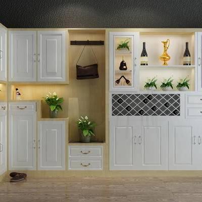 鞋柜, 酒柜, 边柜, 装饰柜, 玄关柜, 玄关鞋柜, 植物, 鞋, 简欧