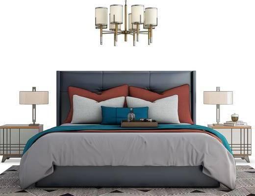 现代双人床, 床头柜, 吊灯