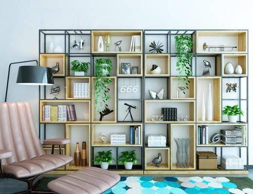装饰柜架, 书架, 置物架, 落地灯, 单椅
