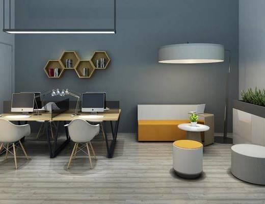 休闲沙发, 办公吊灯, 办公座椅, 书桌, 单人椅, 茶几, 装饰画, 挂画, 装饰架, 北欧