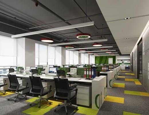 办公室, 办公桌, 办公椅, 单人椅, 轮滑椅, 电脑, 现代