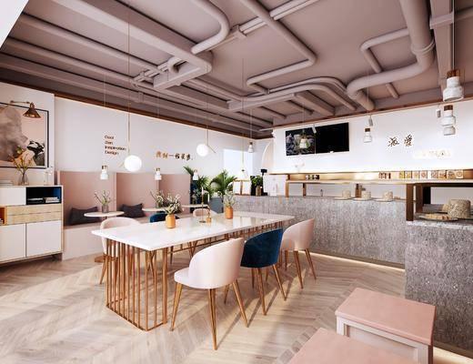 北欧奶茶店, 餐桌, 单椅, 边柜