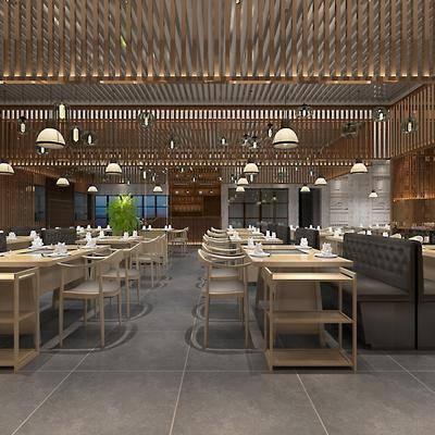 餐厅, 餐桌, 餐椅, 餐具, 装饰品, 绿植, 卡座, 墙饰, 新中式