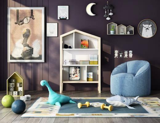 置物柜, 单椅, 书籍, 墙饰