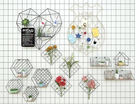现代, 北欧, 墙饰, ins, 网红, 陈设品, 绿植, 花瓶
