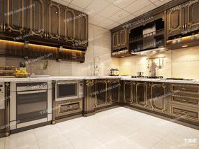 厨房, 新中式, 整体模型, 现代厨房, 橱柜, 厨具