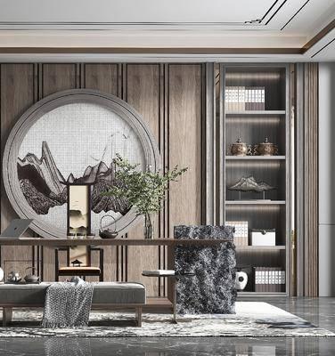 家装, 新中式风格书房