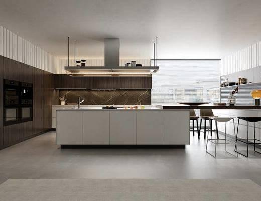 厨房, 前台, 餐桌, 餐椅, 单人椅, 台灯, 摆件, 装饰品, 陈设品, 食物, 现代