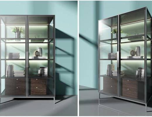 装饰柜, 书柜, 现代玻璃装饰柜, 摆件组合, 现代