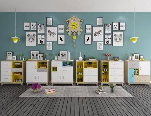 实木边柜, 鞋柜, 装饰柜, 照片墙, 装饰画, 挂画, 吊灯, 北欧