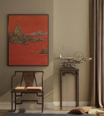新中式, 单椅, 实木, 摆件, 挂画