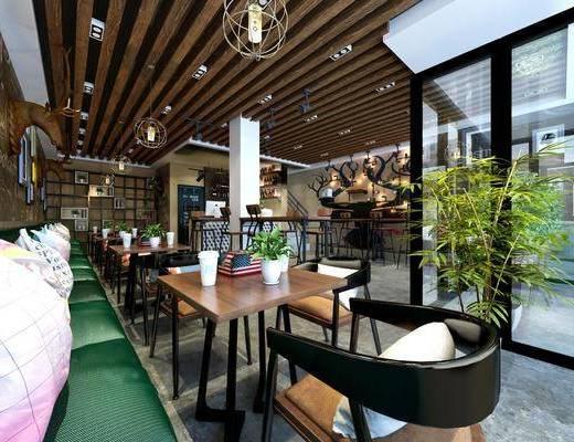 咖啡店, 餐桌, 餐椅, 单人椅, 吧台, 吧椅, 盆栽, 干树枝, 卡座, 绿植, 吊灯, 装饰画, 挂画, 组合画, 摆件, 装饰品, 陈设品, 现代
