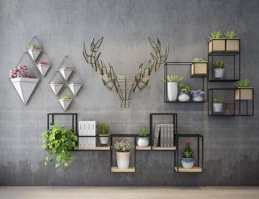 置物架组合, 墙面植物, 装饰架, 墙饰, 多肉, 绿植植物, 现代