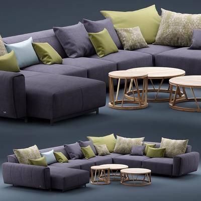 多人沙发, 转角沙发, 布艺沙发, 现代
