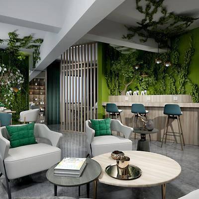 现代咖啡馆, 现代, 咖啡馆, 咖啡厅, 植物, 吧台, 沙发椅, 茶几, 植物墙