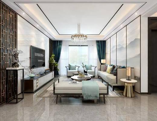 客厅, 餐厅, 客餐厅, 新中式, 中式, 沙发组合, 多人沙发, 茶几, 边几, 端景台, 电视柜, 台灯, 吊灯, 餐桌椅, 桌子, 椅子, 置物柜
