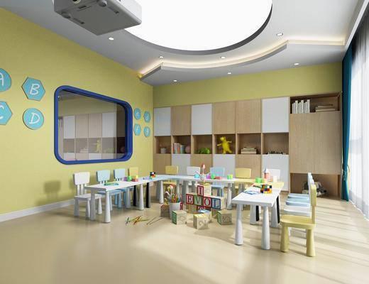 幼儿园, 桌子, 椅子, 单人椅, 玩具, 投影仪, 现代