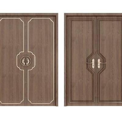 新中式木门组合, 双开门, 门, 木门, 新中式