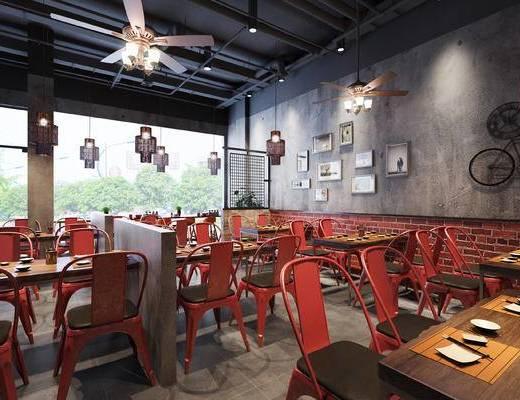 餐厅, 工业风, 餐桌椅, 椅子, 桌子, 餐桌, 餐具, 墙饰, 吊灯, 吊扇