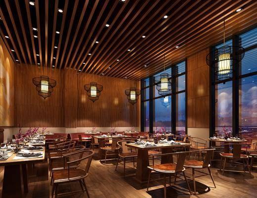 餐厅, 餐桌, 餐椅, 单人椅, 吊灯, 餐具, 花瓶花卉, 新中式
