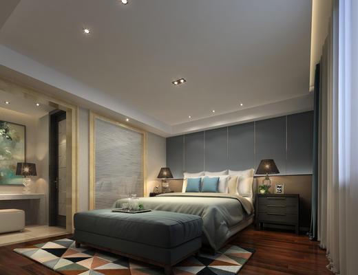 卧室, 床, 台灯, 床头柜, 现代卧室
