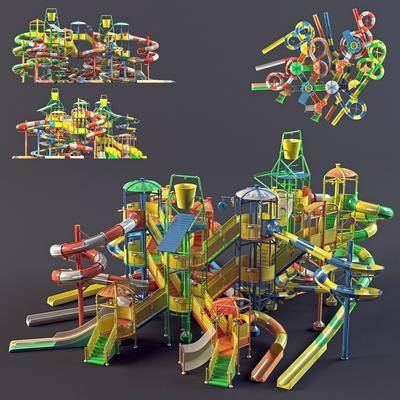 现代游乐设施, 现代, 玩具, 滑滑梯, 游乐设备