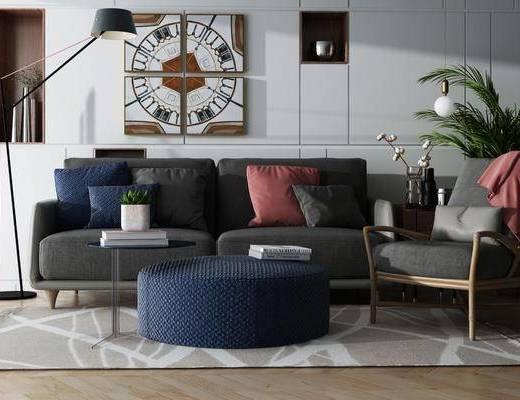 现代沙发茶几组合, 现代, 沙发, 落地灯, 植物, 装饰画, 茶几, 椅子