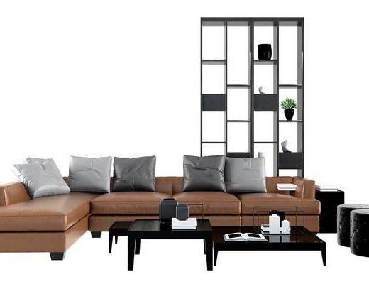 沙发组合, 多人沙发, 转角沙发, 装饰柜, 置物柜, 摆件, 装饰品, 茶几, 边几, 瓷器, 现代, 沙发凳, 植物, 盆栽
