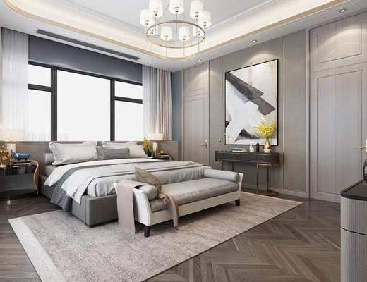 臥室, 床具組合, 邊柜組合, 擺件組合, 新中式, 臺燈, 吊燈