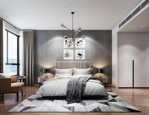 卧室, 现代简约卧室, 现代简约, 床具组合, 吊灯, 单椅, 现代