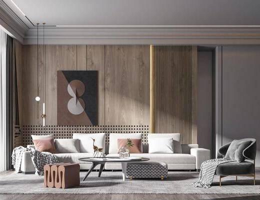 沙发组合, 茶几, 单椅, 装饰画, 吊灯
