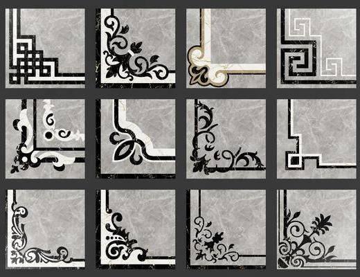 地砖, 拼花, 拼花角线