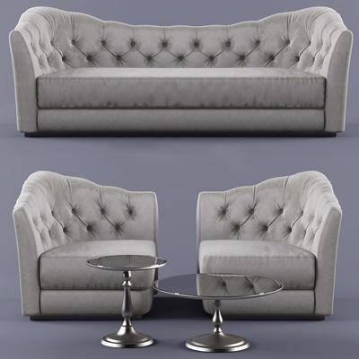 双人沙发, 多人沙发, 单人沙发, 茶几, 现代