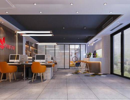 现代办公室, 办公室, 办公桌, 办公椅, 桌椅组合