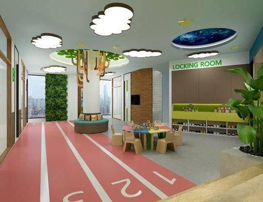 幼儿园, 桌椅组合, 摆件, 装饰品, 陈设品, 现代