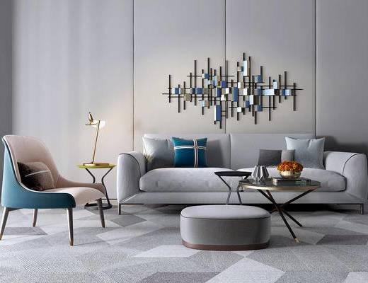 沙发组合, 茶几, 墙饰, 单椅, 抱枕