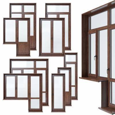 现代, 实木门窗, 门, 窗, 门窗组合, 平开窗, 平开门