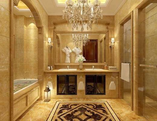 衛生間, 洗手臺組合, 浴缸組合, 吊燈壁燈組合, 美式