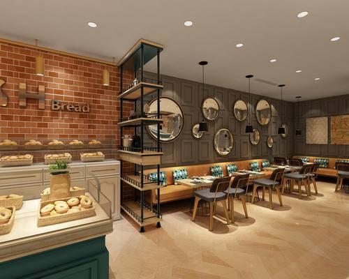 咖啡馆, 餐厅, 墙饰, 桌椅组合, 展示架
