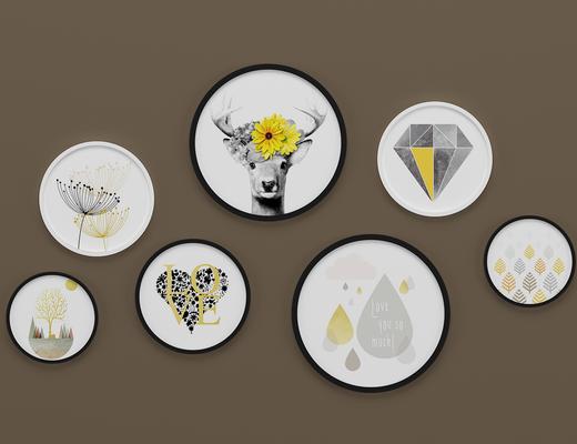 北欧圆形装饰画, 壁画, 挂画