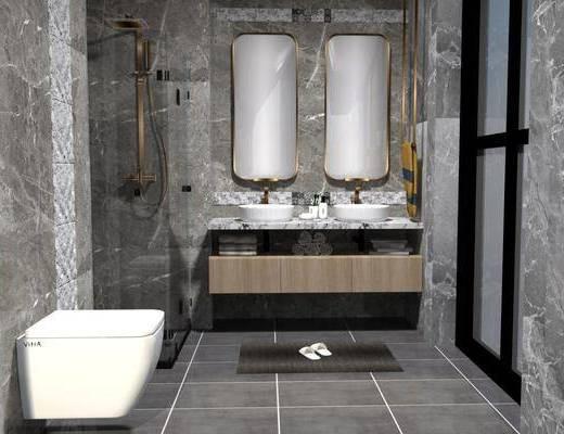 卫浴, 洗浴组合, 壁镜, 洗手盆